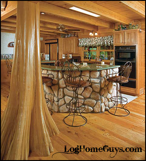 Hand peeled cypress tree post by Log Home Guys